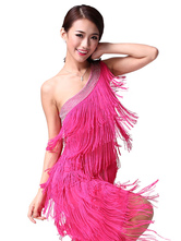 Anime Costumes AF-S2-638787 Latin Dance Dress Costume Women's One Shoulder Ballroom Dance Bodycon Dress With Tassels In Rose Red