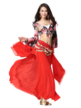 Anime Costumes AF-S2-638819 Belly Dance Costume Women's Red Chiffon Bollywood Dance Maxi Skirt With Floral Print Bell Long Sleeve Knotted Crop Top