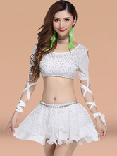 Anime Costumes AF-S2-638797 Belly Dance Costume Women's White Tulle Mini Skirt Outfit With Lace Up Crop Top
