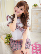 Anime Costumes AF-S2-638745 Sexy School Girl Costume Nerd Women's Plaided Mini Skirt Outfit Set In 2 Piece