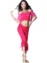 Anime Costumes AF-S2-638783 Belly Dance Costume Rose Red Women's Ruffled Wrap Pants With Off-the-shoulder Crop Top Bollywood Dance Outfit