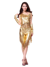 Anime Costumes AF-S2-638777 Gold Latin Dance Costume Shiny Metallic Tassel Pants With Ballroom Dance Top