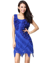Anime Costumes AF-S2-638791 Dance Dress Costume Women's Blue Flowers Bodycon Ballroom Dance Dress With Tassels