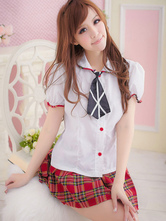 Anime Costumes AF-S2-638743 Sexy School Girl Costume Nerd Cotton Women's Mini Skirt With White Short Sleeve Shirt In 3 Piece