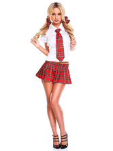 Anime Costumes AF-S2-638747 Sexy School Girl Costume Nerd Women's Red Uniform Set Mini Skirt With White Shirt Set In 4 Piece