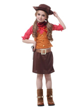 Anime Costumes AF-S2-638719 Halloween Cowgirl Costume For Kids Brown Pencil Skirt Set In 5 Piece