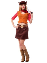 Anime Costumes AF-S2-638721 Halloween Sexy Cowgirl Costume Women's Brown Pencil Skirt Outfit Set In 5 Piece