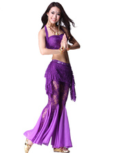 Anime Costumes AF-S2-638793 Belly Dance Costume Lace Women's Ruched Leg Pants With Bollywood Dance Crop Top