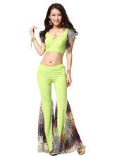 Anime Costumes AF-S2-638815 Belly Dance Costume Women's Green Chiffon Outfit Set Bollywood Dance Bell Bottom Pants With Crop Top