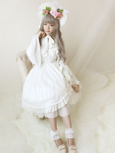 Lolita Wedding Dress OP White Chiffon Ruffle Bow Lace Lolita One Piece Dress Original Design