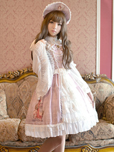 Sweet Lolita Dress JSK rosa chiaro stampato a strati pizzo arruffato Up Slim Fit cotone Lolita Jumper gonna con fiocco