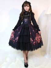 Lolitashow Gothic Lolita Dress JSK Black Printed Layered Ruffle Slim Fit Cotton Jumper Skirt