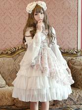 Lolitashow Sweet Lolita Dress JSK Pink Printed Strappy Sleeveless Tunic Ruffle Chiffon Lolita Jumper Skirt With Bow