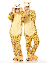Anime Costumes AF-S2-641999 Kigurumi Pajama Leopard Onesie For Adult Flannel Yellow Animal Couple Costume Sleepwear