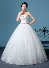 Princess Wedding Dress Lace Strapless Embroidered Beading Backless Bridal Gown Floor Length Bridal Dress