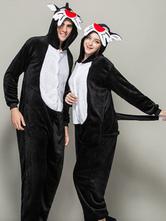 Anime Costumes AF-S2-642031 Kigurumi Pajama Christmas Onesie For Adult Flannel Black Animal Couple Costume Sleepwear