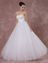 Ball Gown Tulle Wedding Dress Princess Strapless Sweetheart Bridal Gown Pearls Beading Floor-length Backless Luxury Bridal Dress
