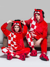 Anime Costumes AF-S2-642025 Kigurumi Pajama Lion Onesie For Adult Flannel Red Checkered Animal Couple Costume Sleepwear