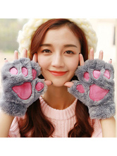 Anime Costumes AF-S2-641961 Kigurumi Pajamas Cat Onesie Grey Cotton Animal Winter Gloves Costume For Adults