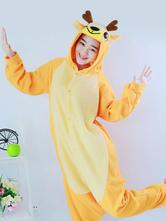 kigurumi pijamas reno mono amarillo franela animales traje de la navidad