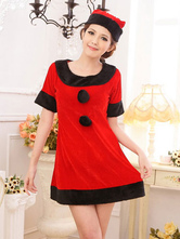 Anime Costumes AF-S2-642661 Sexy Christmas Costume Red Christmas Costume Outfits Velvet Two Tone Dress And Hat In 2 Piece