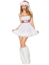 Anime Costumes AF-S2-642667 Sexy Christmas Costume White Halter Sleeveless Slim Fit Skater Mini Dress With Hat