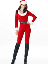 Anime Costumes AF-S2-642649 Christmas Sexy Costume Red Faux Fur Women's Long Sleeve Belted Jumpsuit With Hat