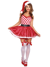 Anime Costumes AF-S2-642653 Christmas Sexy Costume Red Women's Striped Sweatheart Flare Skater Dress Belted Costume
