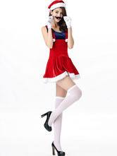 Anime Costumes AF-S2-642647 Christmas Sexy Costume Red Faux Fur Pleated Short Jumper Dress Women's Costume Outfit