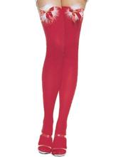 Anime Costumes AF-S2-642657 Sexy Christmas Costume Ture Red Cheap Christmas Stockings Nylon Knee High Socks