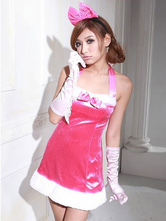 Anime Costumes AF-S2-642659 Sexy Christmas Costume Rose Red Christmas Lingerie Halter Bows Mini Dress With Fur Trim