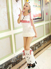 Anime Costumes AF-S2-642641 Christmas Sexy Costume Women's White Mini Dress Christmas Lingerie Outfit Set In 4 Piece