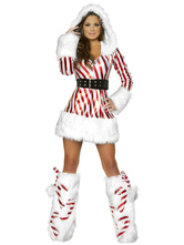 Anime Costumes AF-S2-642665 Sexy Christmas Costume Two Tone Hooded Long Sleeve Slim Fit Mini Dress With Boot Covers