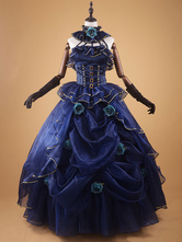Anime Costumes AF-S2-642725 Dark Navy Retro Costume Vintage Ruffle Beaded Ball Gown Dress Costume