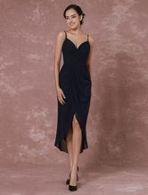 Chiffon Bridesmaid Dress Navy Spaghetti High-Low Backless Wedding Party Dress