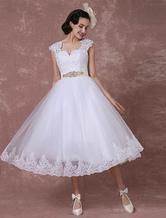 Vestido de noiva vintage  curto laço tule  traseiro  strass laço destacável Sash Milanoo
