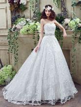Mein Schatz Hochzeitskleid Spitze Tüll Günstiges Brautkleid a-line rückenfreie Gericht Zug Günstiges Brautkleid