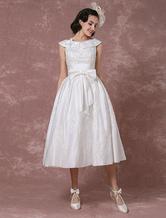 Vestido de noiva vintage  cetim curto laço Applique Beading gola e laço destacável Sash Milanoo