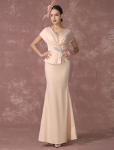 Mermaid Abito da sera Champagne Peplum Party Dress con scollo a v madre della Sposa In lunghezza alla caviglia