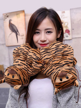 Anime Costumes AF-S2-644235 Kigurumi Pajamas Tiger Paw Gloves Onesie Brown Animal Winter Gloves Costume For Adults