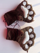 Anime Costumes AF-S2-644227 Kigurumi Pajamas Bear Paw Gloves Brown Onesie Animal Winter Gloves Costume For Adults