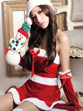 Anime Costumes AF-S2-644195 Sexy Christmas Santa Costume Red Strapless Christmas Lingerie Sleeveless Mini Dress With Hat And Gloves