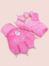 Anime Costumes AF-S2-644237 Kigurumi Pajamas Bear Onesie Pink Animal Winter Gloves Costume For Adults