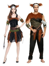 Anime Costumes AF-S2-644907 Native American Couples Costume Brown Outfit With Hat And Armwear