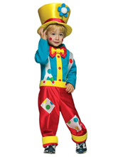 Anime Costumes AF-S2-644825 Carnival Clown Costume Circus Halloween Costume Satin Jumpsuit With Hat For Kids