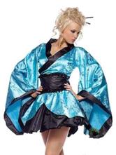 Anime Costumes AF-S2-644869 Sexy Geisha Costume Blue Satin Kimono Costume With Sash