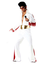 Anime Costumes AF-S2-644903 Elvis Presley Couples Costume Halloween White Long Sleeve Jumpsuit With Sash