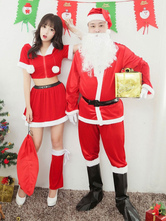 Anime Costumes AF-S2-644901 Christmas Couples Costume Santa Claus Red Outfits In 8 Piece Set