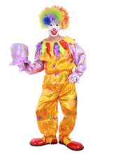 Anime Costumes AF-S2-644853 Carnival Clown Costume Circus Halloween Costume Satin Jumpsuit For Men With Hat