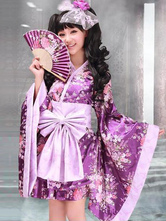Anime Costumes AF-S2-644879 Sexy Geisha Costume Women's Purple Floral Printed Kimono Costume